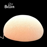 Belifa 100% pure natural half round ball red clay mineral skin care facial cleansing konjac sponge