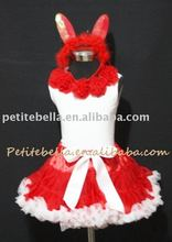 Easter Red White Pettiskirt Rabbit Costum with Pink Rosettes Tank Top,Skit,Tutu,Clothing Set,Shirt MAM21EA