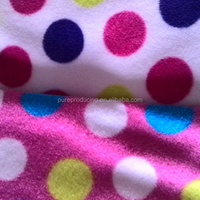 Blue heart print fleece fabric