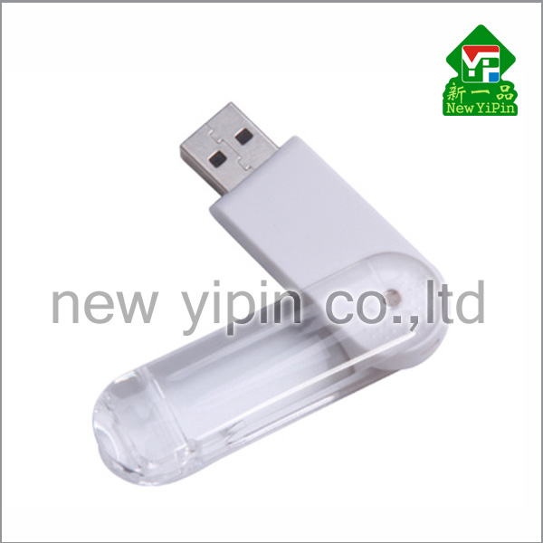 New Yipin Swivel USB Stick Transparent Plastic Material Logo OEM OTG USB Flash Drive