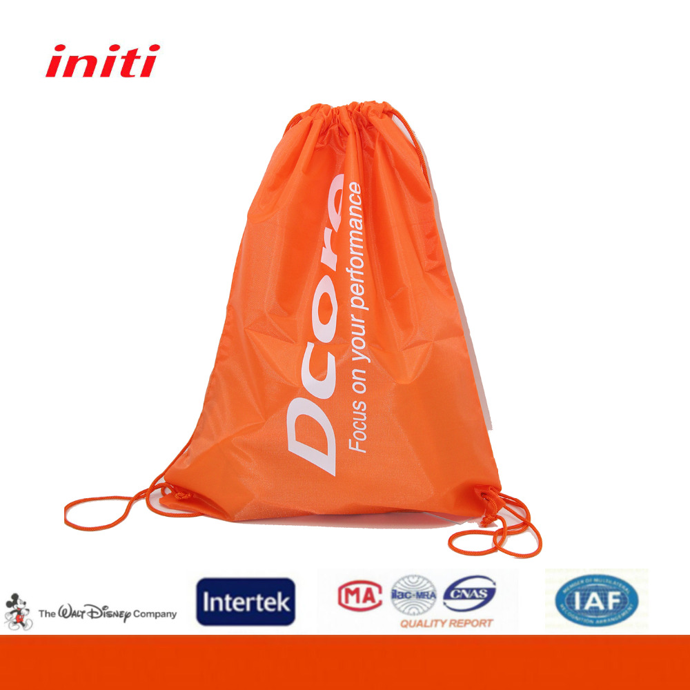 High Quality Customized Logo Polyester Drawstring Bag for Sports