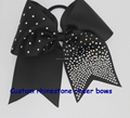 Large grosgrain cheer bow with rhinestone iron on transfer for cheerleading team