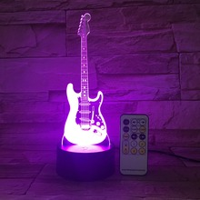 Creative desk decoration acrylic illusion led bulb 3D night light with guitar shaped 3D light