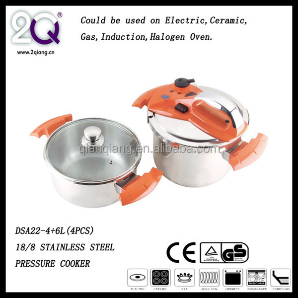 DSA22-4+6L Prestige Stainless Steel Pressure Cooker with glass lid and orange handle