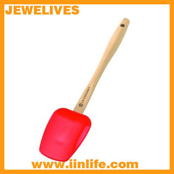 Eco-friendly heat-proof silicone turner with wooden Handle