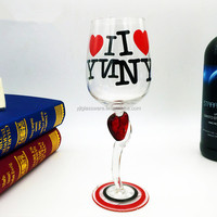hand painted twist stem wine glass