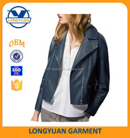 navy color short women jacket faux leather jacket for lady
