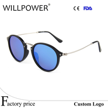 Hot sale newest mirror lens sun glasses 2017 spring hinge polarized retro round sunglasses