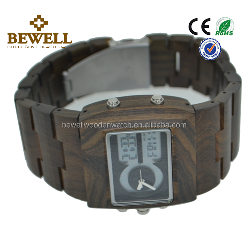 Wholesale Bewell or OEM Digital Wrist life waterproof best Wooden Watch with Japan Quartz Movement