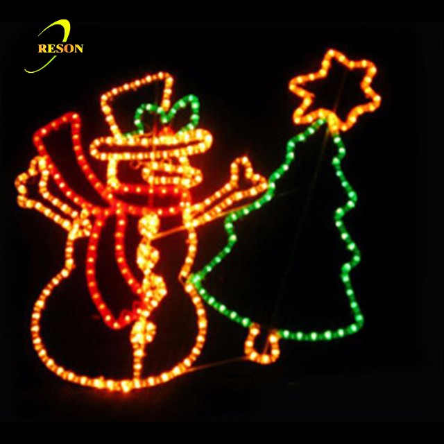 Christmas Commercial Hanging 2D Snowman Motif Lights
