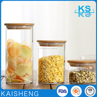 Wholesale airtight suction lid glass jar with bamboo lid for storage