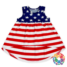 New Arrival 4th Of July Girl Festival Clothes Red White Blue Stars Patriotic Patten Cotton Sleeveless Baby Dress