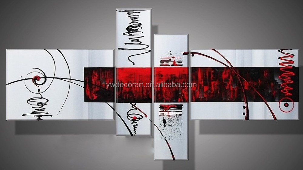Handicraft Modern Art Pictures white and red colors 4 panels
