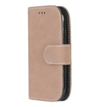 Fashion Retro Scrub PU Leather Case For Samsung Galaxy S3 mini i8190 Cover Cases Card Slots Wallet