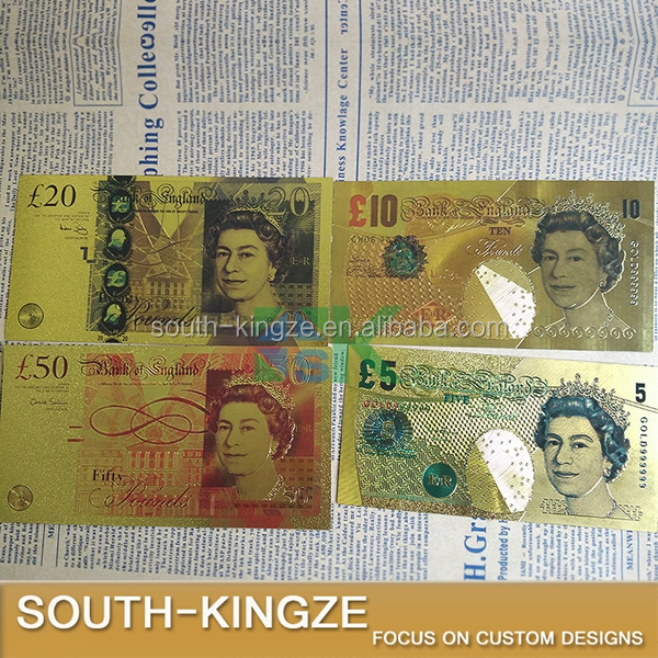 United Kingdom Pound Colorful Gold Foil plated double design UK Banknote for collection Banknote/paper money