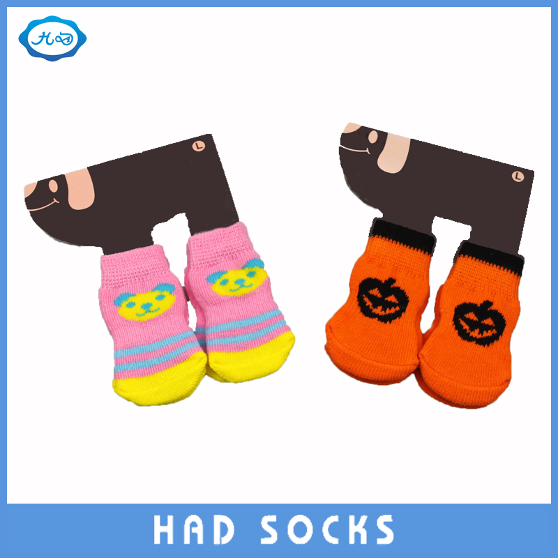 Cute Custom Cotton Dog Shoes/Socks with PVC anti-slip