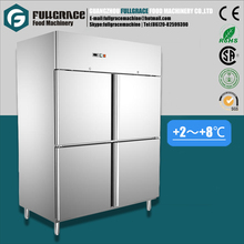 CE approved commercial 1056L 304 stainless steel upright 4 door refrigerator with lock
