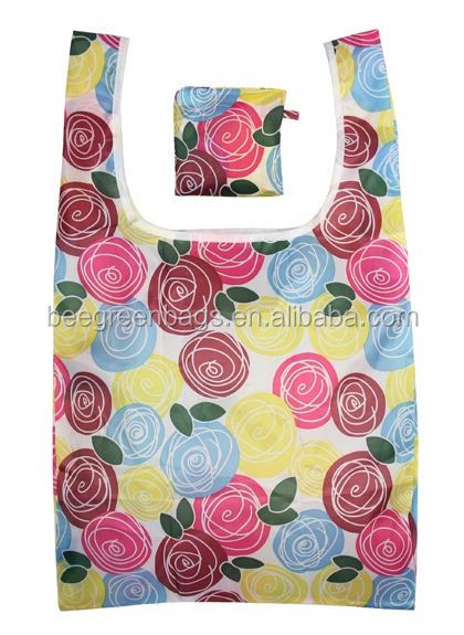 BeeGreen Smart 190T polyester t shirt fold up wholesale reusable shopping bags