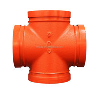 UL&FM approved ductile iron grooved pipe fittings for fire fighting/protection- cross joint