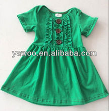cute new fashion small girls cotton ruffle dress 2014 cheap green girls dress design with short sleeves baby kids boutique dress