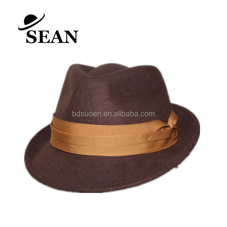 100% Wool Felt Men Fedora Hat in Brown with 3 wave band