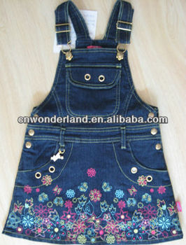 manufactury children girls DENIM overall dress dungarees dress kids denim dress