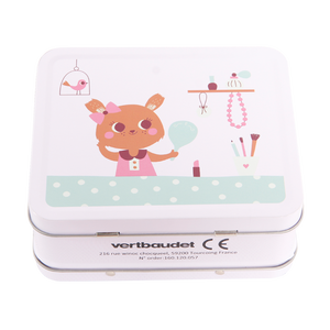 Hot sale lovely small pink rabbit printing kids mini tin lunch box with plastic handle and lock