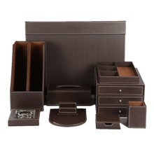 Brown Leather Office Desktop Organizer Desk Sets