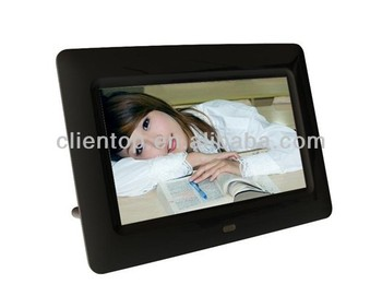 "7""Digital Photo Frame(Black) support MP3 MP4 picture playback for advertising"