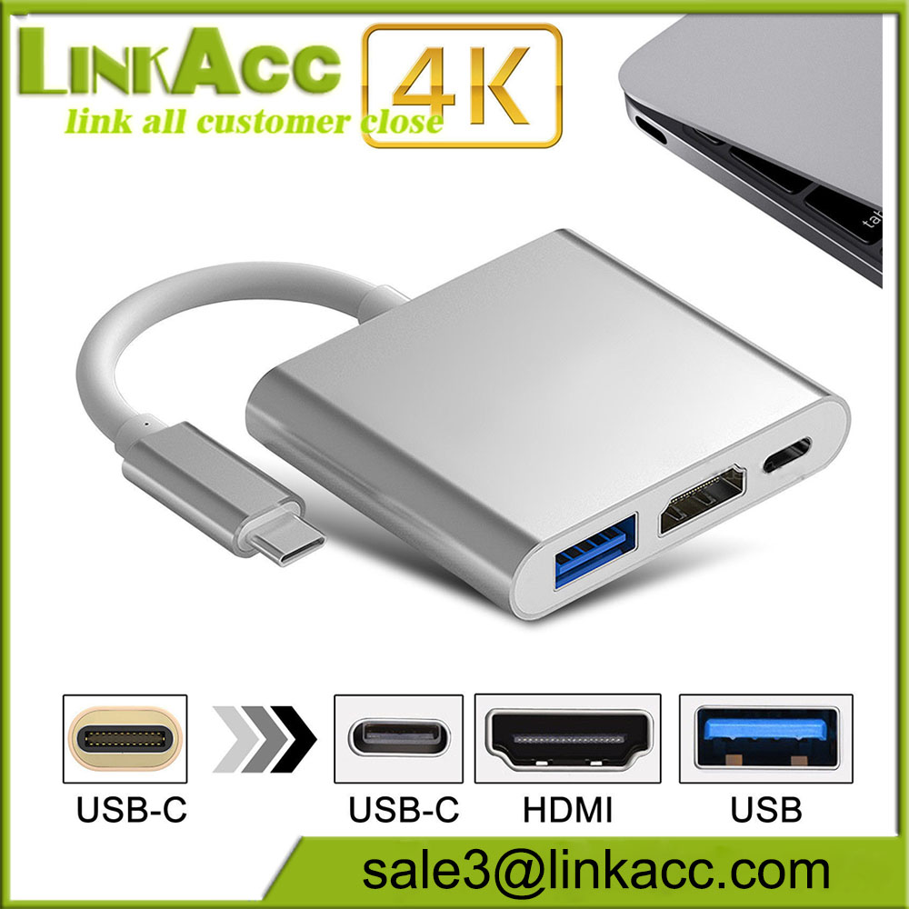 3IN1 USB 3.1 Type-C to 4k HD USB 3.0 HUB USB-C Charging Port Adapter Cable