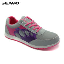 SEAVO SS17 professional lowest price fashion clear nubuck pu lady breathable fabric grey running shoes