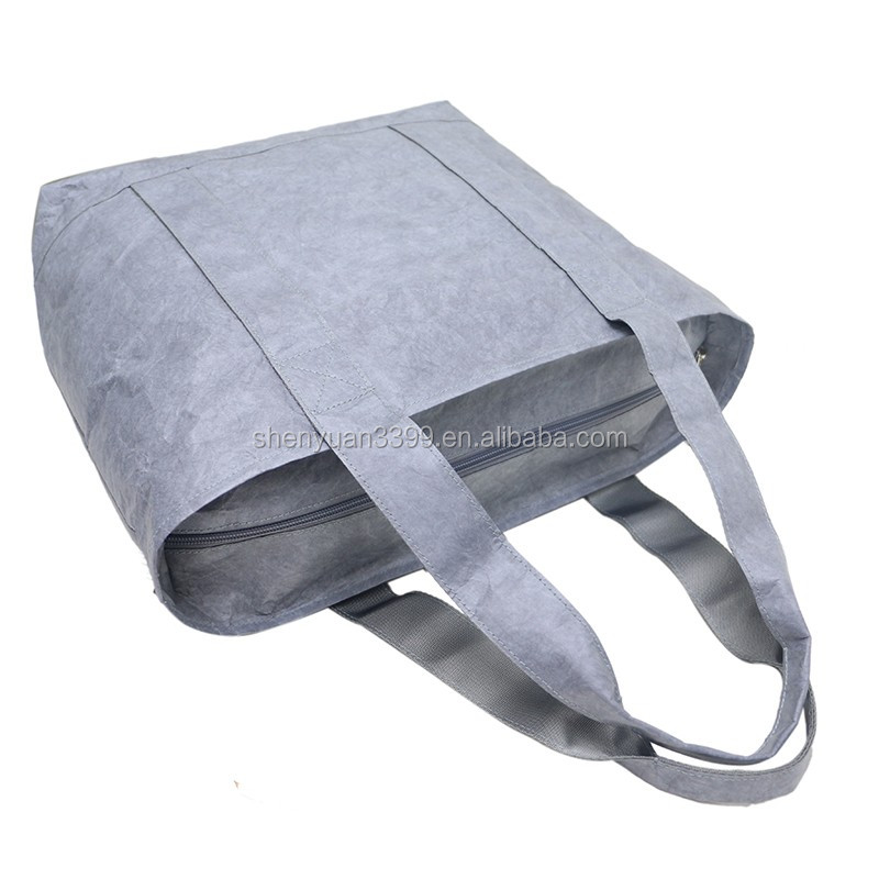 Alibaba wholesale tyvek paper handbag lightweight durable grey daily bag fashionable paper bag with zipper China