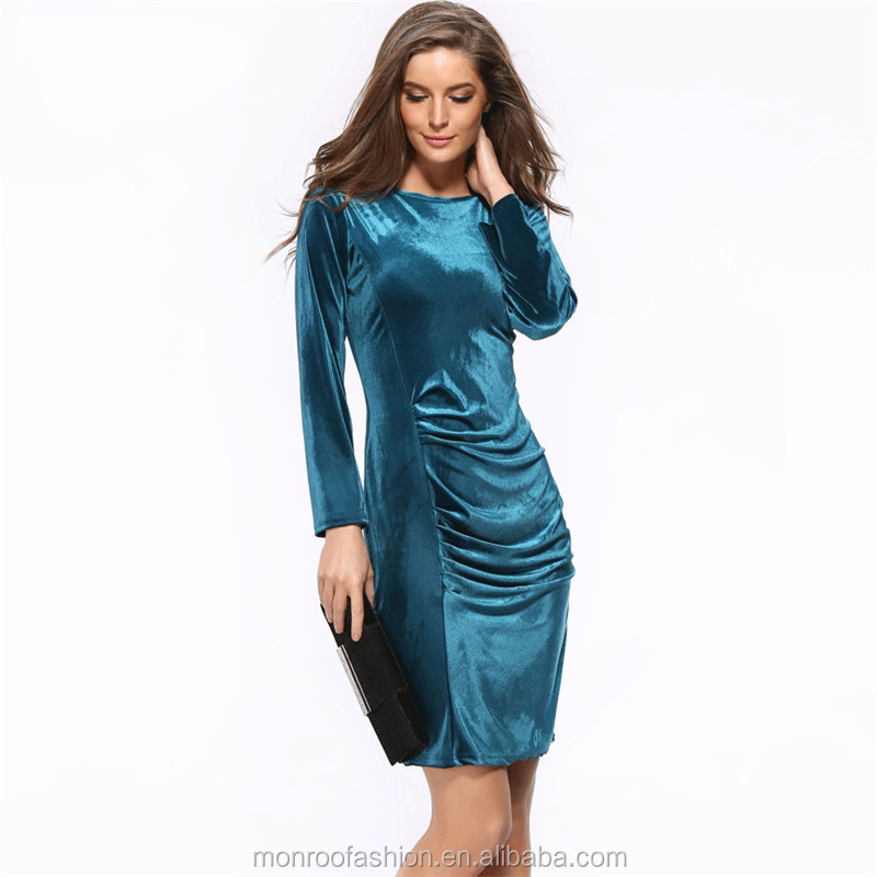 monroo Long Sleeve Velvet Dress Women Sexy Formal Bandage Bodycon Pencil Office Dress to Work Wear Ladies Party Dresses