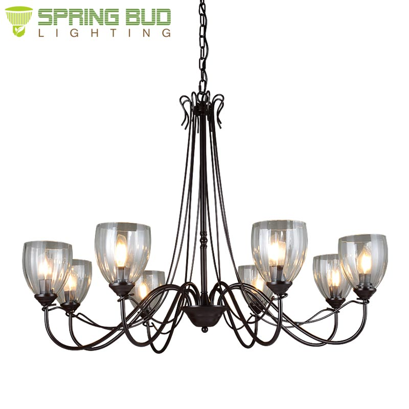 Luxury iron metal + glass 3 / 5 / 8 lights ceiling lamp modern hotel lobby chandelier and pendent lights with E14 lamp holder