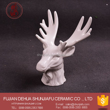 White Ceramic Deer Head Ornament, Deer Head Statues