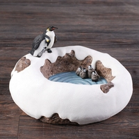 Top Delicate Resin Antarctic Brae Flower Bowl with Penguins Sculpture for Home Decor