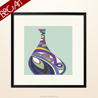 Abstract colorful flower vase painting with frame