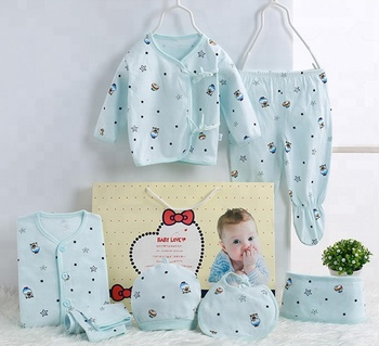 Autumn Spring 0-3Months Newborn baby clothes gift set 100% cotton 7pcs thin sets