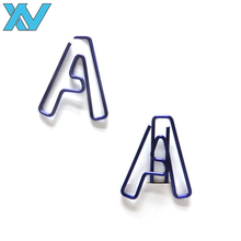 Shinny colorful letter shapes stationery metal paper clips