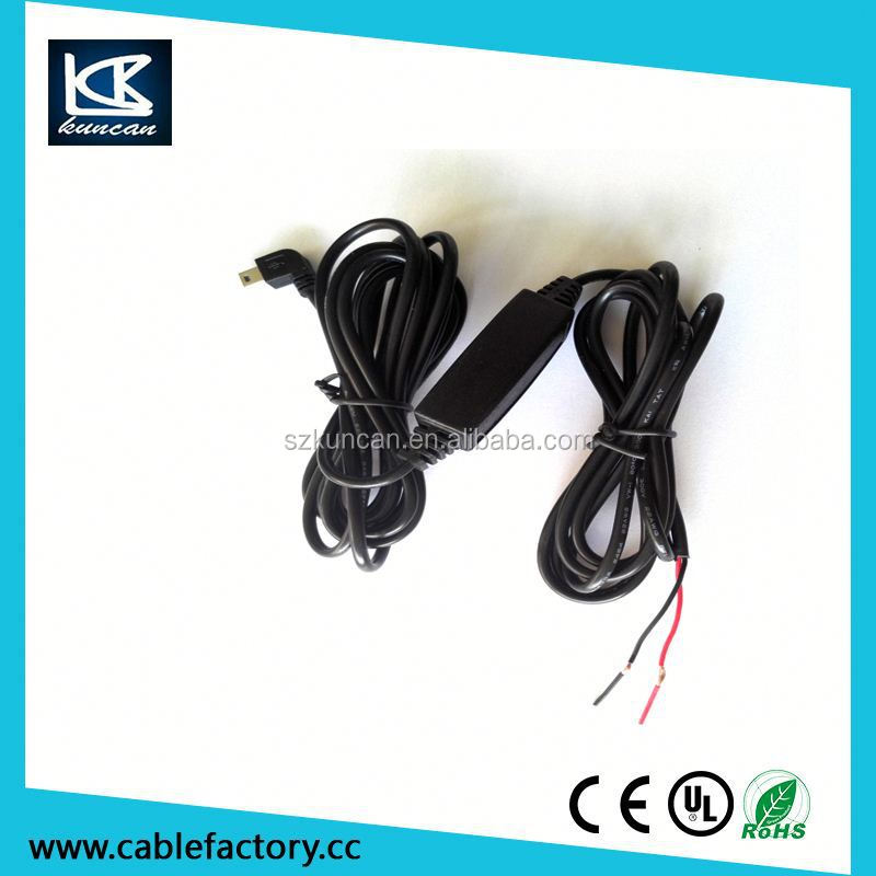 Mini USB B Male charging cable with pcb board for black box