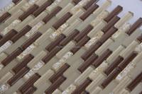 Stirp mix glass brick pattern mosaic tile for small kitchen wall tile border