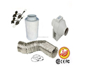4 Inch One Speed Mix-Flow Plastic Inline Fan&Carbon Air Filter& Ducting for Growing Room