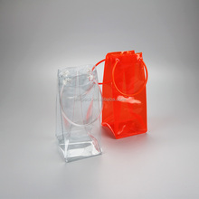Durable plastic pvc water resistant chiller cooler wine bottle ice bag with tube handles