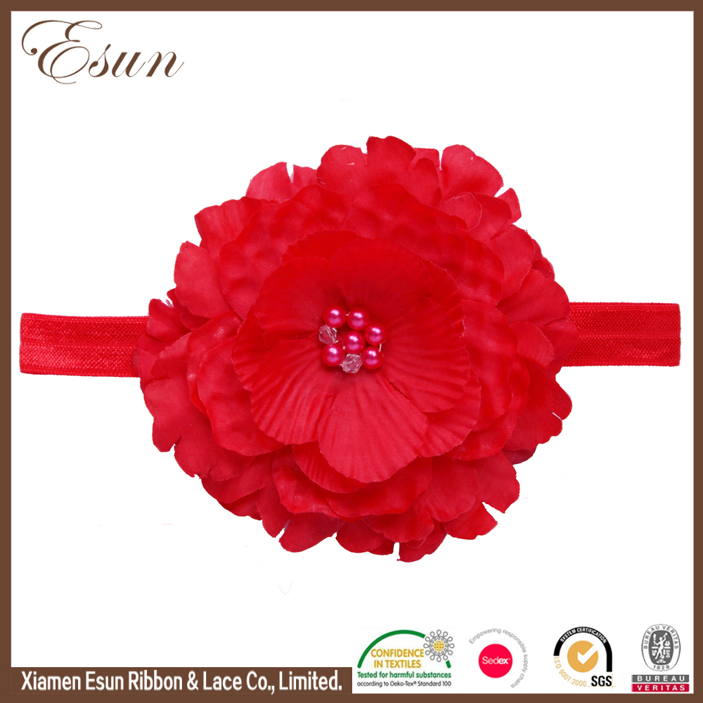 Children hair accessories pearls baby red flowers headbands for teen girls