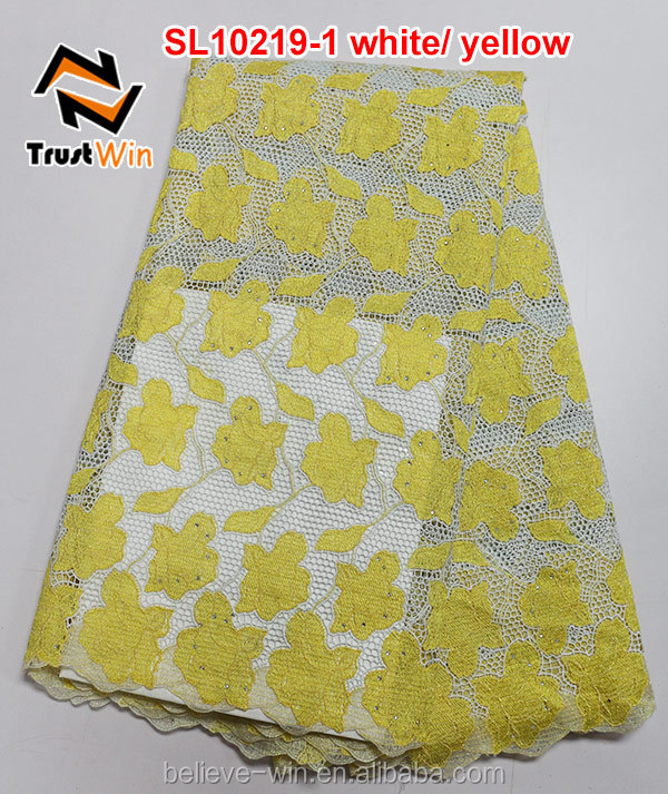 Latest style african lace fabrics cord lace of SL10219