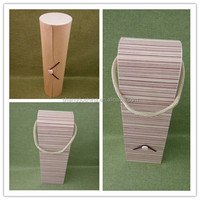 2016 flexible wood veneer gift boxes eco friendly soft wood box for tea ,birch veneer wine box with handle
