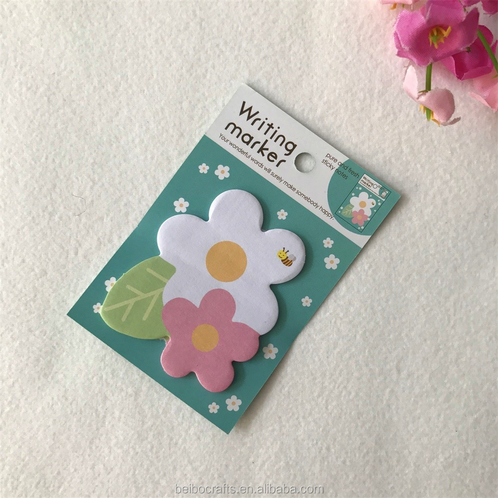 High quality color printing custom design flower shape sticky notes memo pad for students