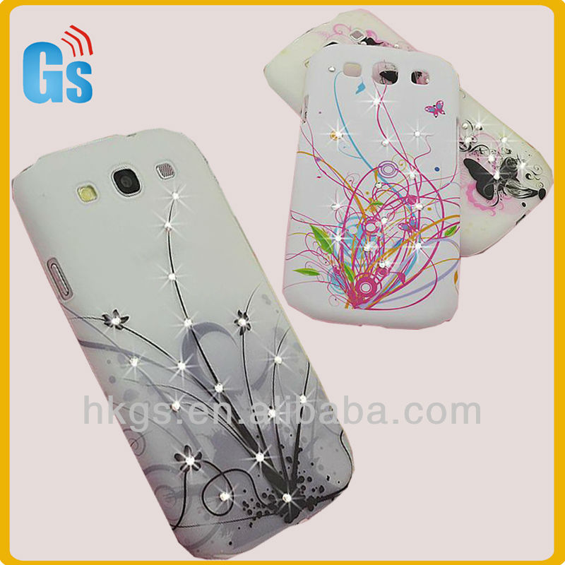 Fresh design gem butterfly flowers custom hard case for galaxy s3
