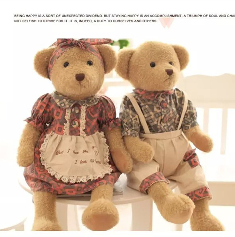 brown lover bear with countryside clothes plush toy used stuffed animals