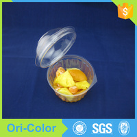 Small disposable plastic salad bowl with lid